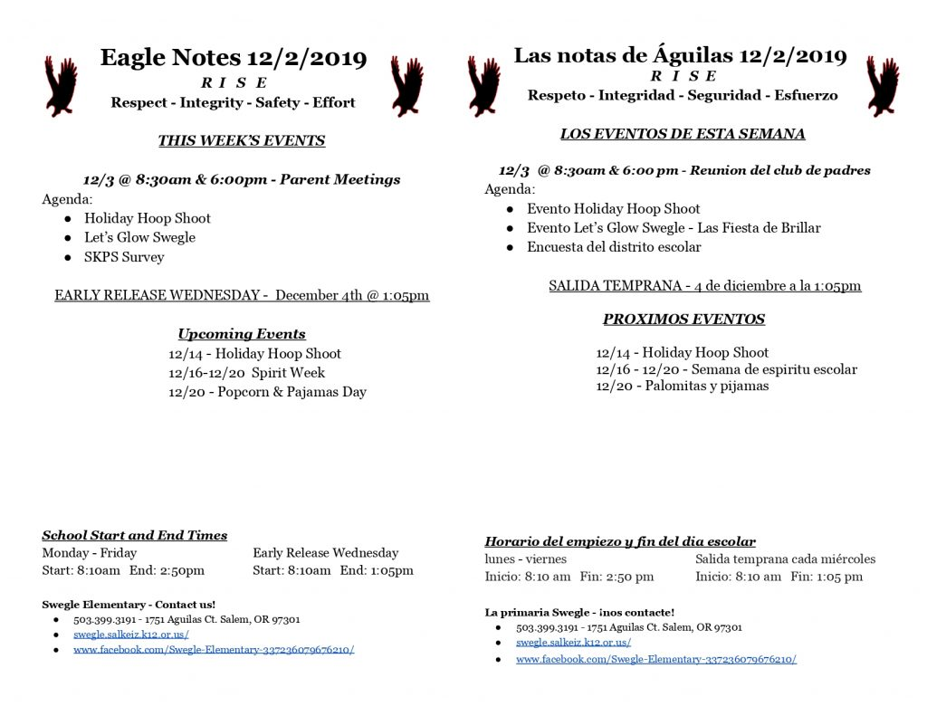 Eagle Notes for 12/2/2019 for more information please call the Swegle Office.