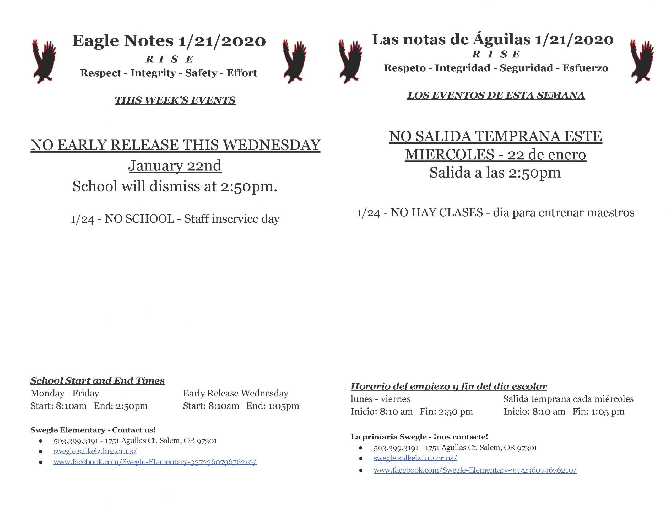 Eagle Notes for 1.22.20.  Please call the office at 503.399.3191 for more information.