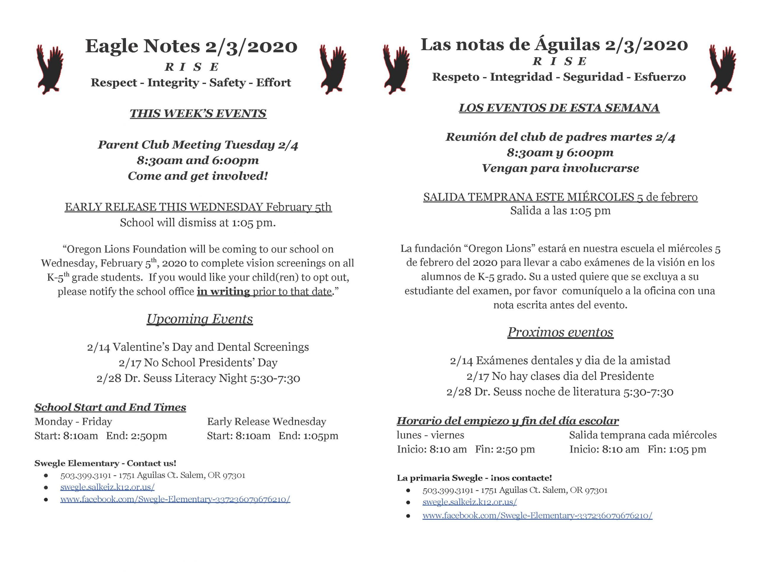 Eagle Notes for the week of 2.3.2020. Please call the office for more information at 503.399.3191